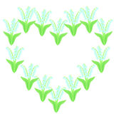 Card or invitation design with decorative heart of lilies of the valley Royalty Free Stock Images