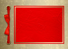 Card for invitation with gold frame and red bo Royalty Free Stock Photo