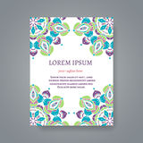 Card or invitation with hand drawn Indian motifs Stock Images