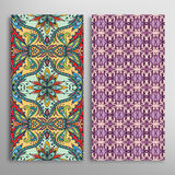 Card or invitation with hand drawn texture. Decorative ornament seamless patterns set Arabic  Indian background Stock Image