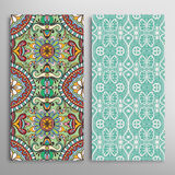 Card or invitation with hand drawn texture. Decorative ornament seamless patterns set Arabic  Indian background Royalty Free Stock Photos