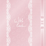Card or invitation with lace and ribbon on any hol Royalty Free Stock Images