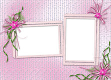 Card for invitation with orchids and bow Stock Image