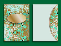 Card or invitation in oriental style with mandalas ornament. Islam, Arabic, Indian, ottoman motifs in green and gold. Colors. Form or blank decorated with Royalty Free Stock Images