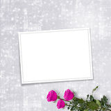 Card for invitation with pink roses Stock Photo