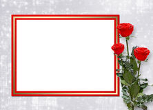 Card invitation with red roses Stock Photography