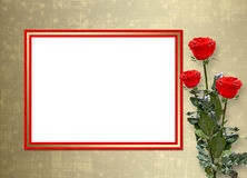 Card for invitation with red roses Stock Photo