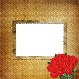Card for  invitation with red roses Stock Image