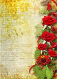 Card for invitation with red roses Stock Photography