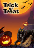 Card invitation to the celebration of Halloween. Raster illustration. Vertical  flyer Stock Photo