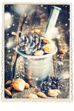 Card isolated on White. Natural Gifts in a mortar. Drawn snow Royalty Free Stock Photo