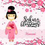 Card with Japanese girl, hanami festival, sakura blossom season. Vector illustration of flat design Royalty Free Stock Images