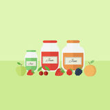 Card with jars of jam in flat style. Vector illustration. Card with jars of fruit jam on a table. Flat design vector illustration royalty free illustration