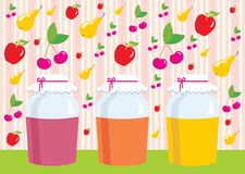 Card. Jars with jem. Fruit. Apples, pears, cherrie. Vector illustration, color full, no gradient Stock Photos