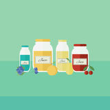 Card with jars of juice in flat style. Vector illustration. Card with jars of fruit juice on a table. Flat design vector illustration stock illustration