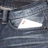 Card in jean pocket Royalty Free Stock Photography