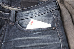 Card in jean pocket Stock Photos