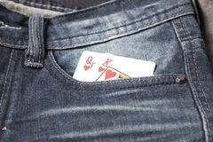 Card in jean pocket Royalty Free Stock Images
