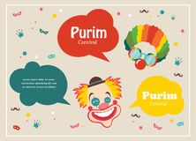 Card for Jewish holiday Purim with clown and speech bubbles Royalty Free Stock Image