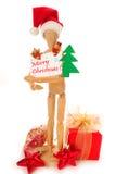 card jul som rymmer skyltdockan trä arkivbilder