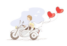 Card -- just married on a motorcycle. Vector illustration, card -- just married on a motorcycle Stock Photos