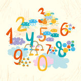 Card for kids. Numbers for children. card with sun, cloud, rainbow, rain vector illustration