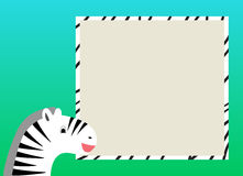 Card for kids with zebra. Place for text with zebra and frame with colorful background, vector for kids Royalty Free Stock Photography