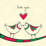 Card with kissing birds in love Royalty Free Stock Images