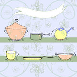 Card with kitchen equipment. Decorative background with copy space Royalty Free Stock Photo