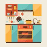 Card with kitchen interior and cooking utensils in Stock Image