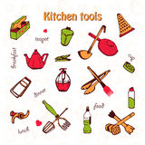 Card with kitchen shelves and cooking utensils in retro style Royalty Free Stock Images