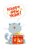 Card with kitten. Card with cute little kitten with new year's gift Stock Photo