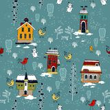 Card with label. Winter background with houses. Stock Photography