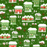 Card with label. Winter background with houses. Stock Image