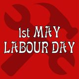1st May Labour Day. Card by the Labour Day. Vector illustration. A spanner wrench and a hammerr on a red background. A white congratulatory inscription in the Stock Images