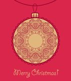 Card with lace Christmas ball Royalty Free Stock Images