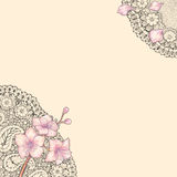 Card with lace and ledum, Labrador tea. Card with black lace and flowers rosemary in the corners on a beige background Stock Image