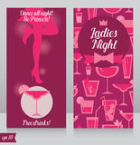 Card for Ladies night party with beautiful girl's silhouette. Front and back sides, vector illustration Royalty Free Stock Photos