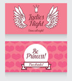 Card for Ladies party, cute pink design, front and back sides Royalty Free Stock Photo