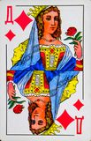 Card lady of diamonds, suit of diamonds royalty free stock images