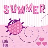 Card ladybug pink vector illustration Royalty Free Stock Photography