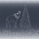 Card with lamb and fir tree Stock Photography