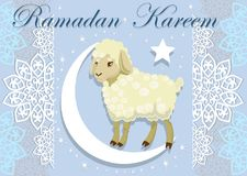 Card with lamb for Muslim festival of sacrifice. Vector illustration. Stock Image