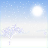 Card landscape. Cold sunny winter day Stock Image