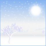 Card landscape. Cold sunny winter day stock illustration