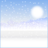 Card landscape. Cold sunny winter day Stock Photography