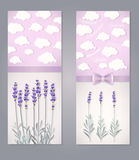 Card with lavender. Greeting card with lavender flowers and clouds Stock Images