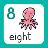 Card for learning to count from 1 to 10. Education. Education card 8. Octopus with eight legs for learning counting from 1 to 10. Childrens vector illustration Stock Images
