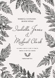 Card with leaves of fern. Vintage wedding invitation in a rustic style. Leatherleaf fern. Botanical vector illustration. Black and white Stock Photos