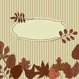 Card with leaves in red colors. Vignette for text with leaves in red colors. can be repainted in any tone. Use as greeting card Royalty Free Stock Image
